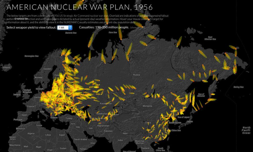 Mapa Celów Ataków Nuklearnych - Źródło: blog.nuclearsecrecy.com