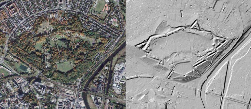 Fort Winiary na zdjęciu satelitarnym (na lewo) i obrazie LIDAR (na prawo) - Źródło: geoportal.gov.pl