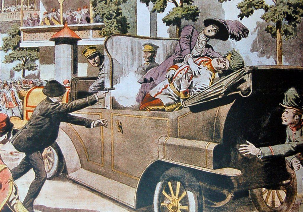Zamach w Sarajewie i zabójstwo arcyksięcia Franciszka Ferdynanda przedstawione na obrazie