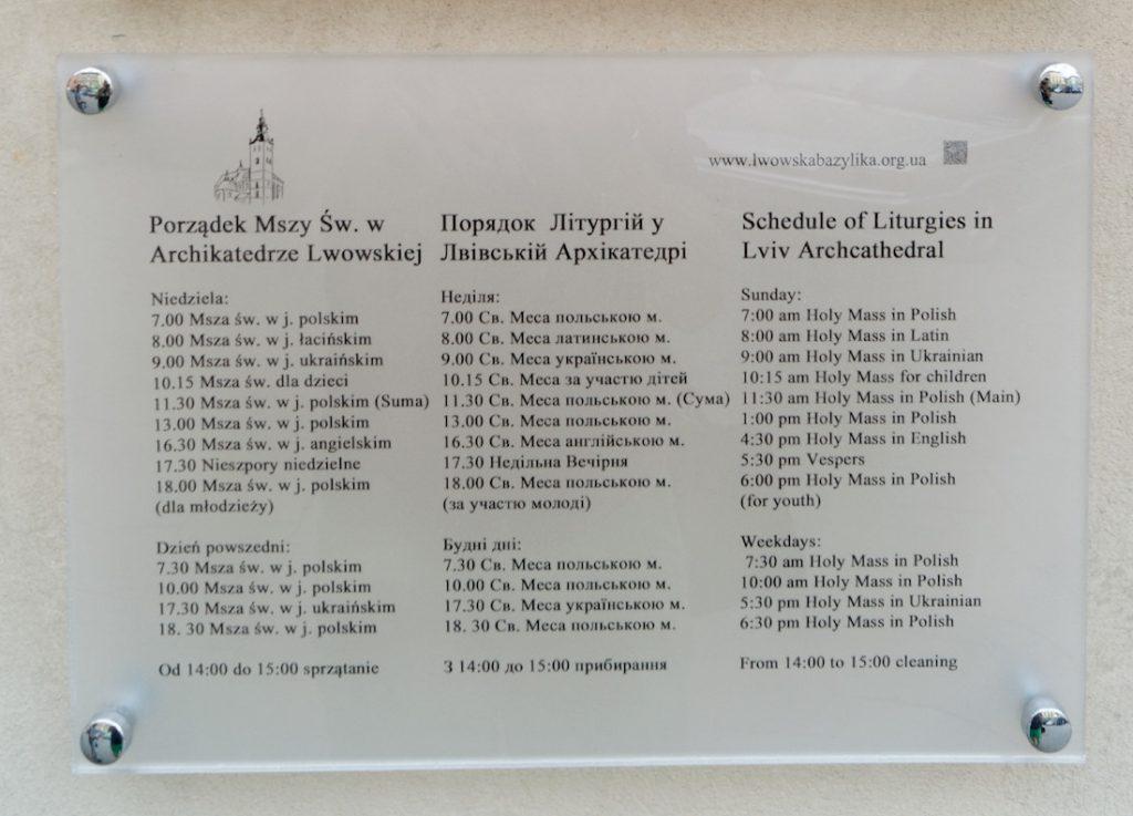 Msze święte w Katedrze Łacińskiej