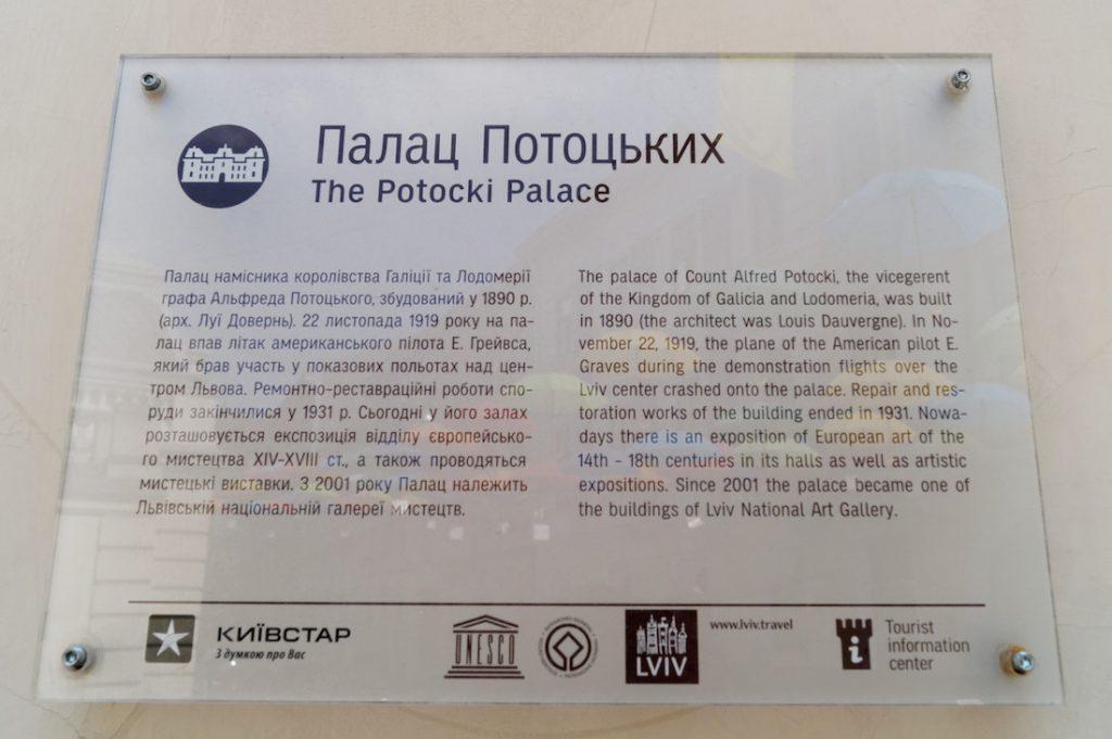 Tablica informacyjna z Pałacu Potockich we Lwowie