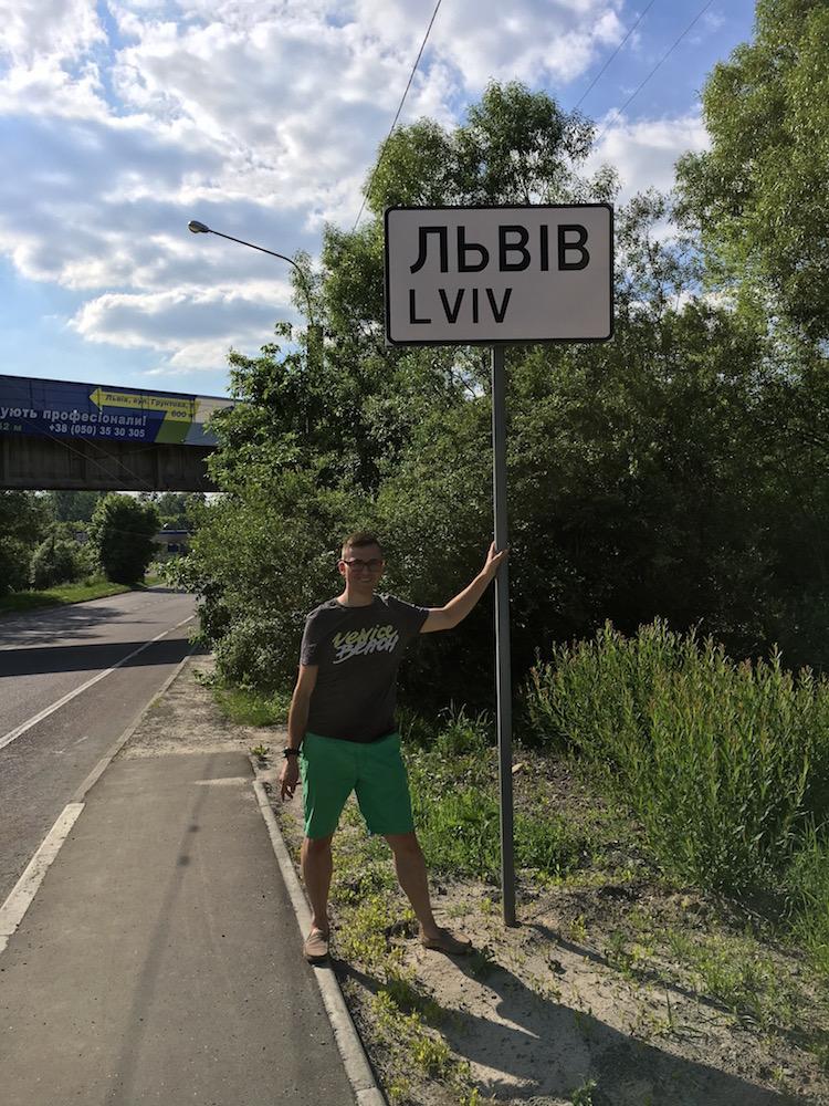 Mój turystyczny wyjazd na Ukrainę - Na tablicy Львів -Lviv (Lwów)