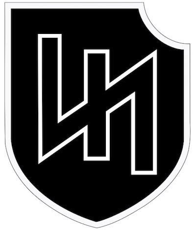 """Dla porównania emblemat 2. Dywizji Pancernej Waffen-SS """"Das Reich"""" - Dywizja była odpowiedzialna za masakrę francuskiej ludności cywilnej w Oradour-sur-Glane"""