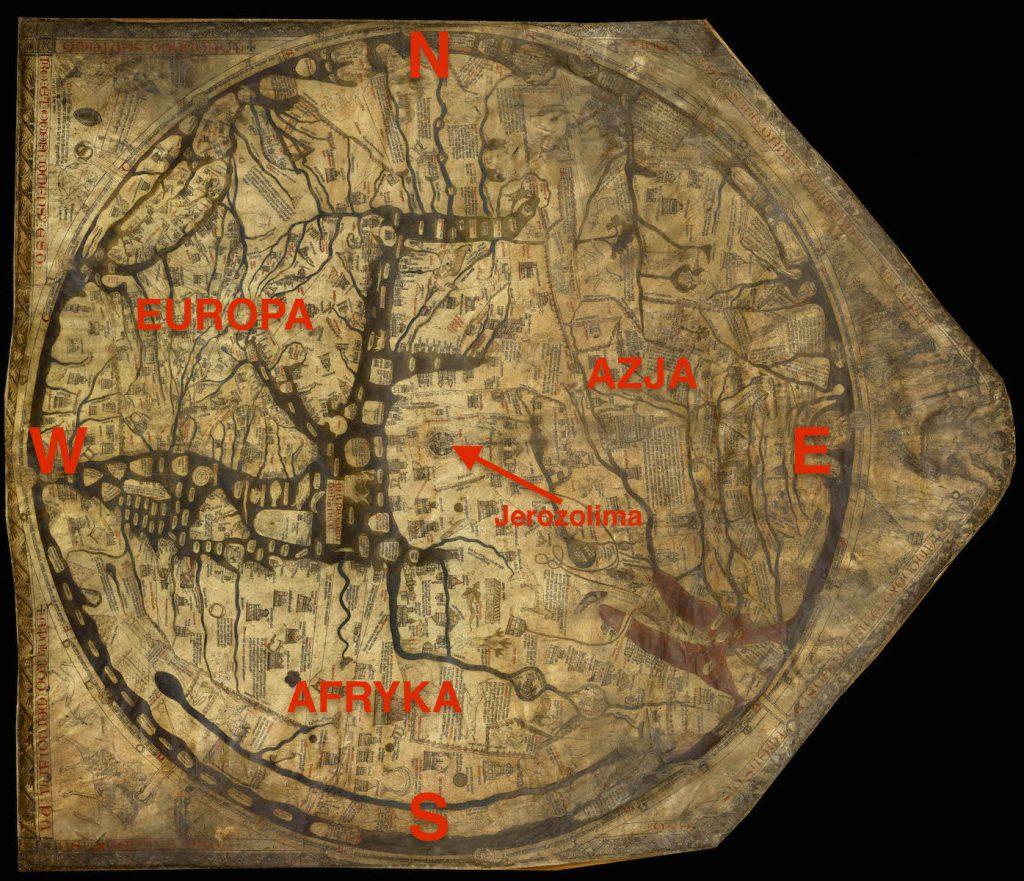 Opis mapy z Hereford - Mapa obrócona tak, aby wskazywała kierunek północny na górze