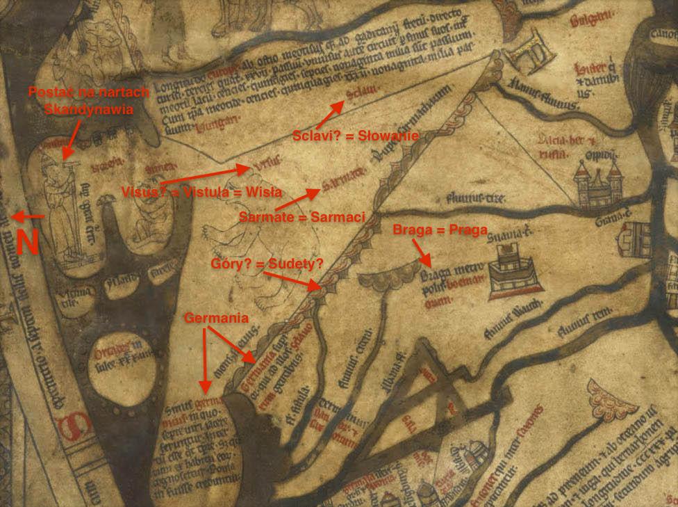 Obszar Europy Środkowej i Polski na mapie z Hereford - Niektóre ze słów i rysunków, które udało się odczytać