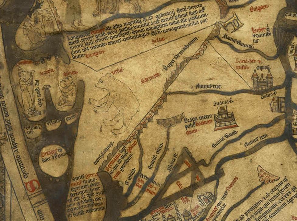 Fragment mapy z Hereford w miejscu gdzie znajduje się Polska