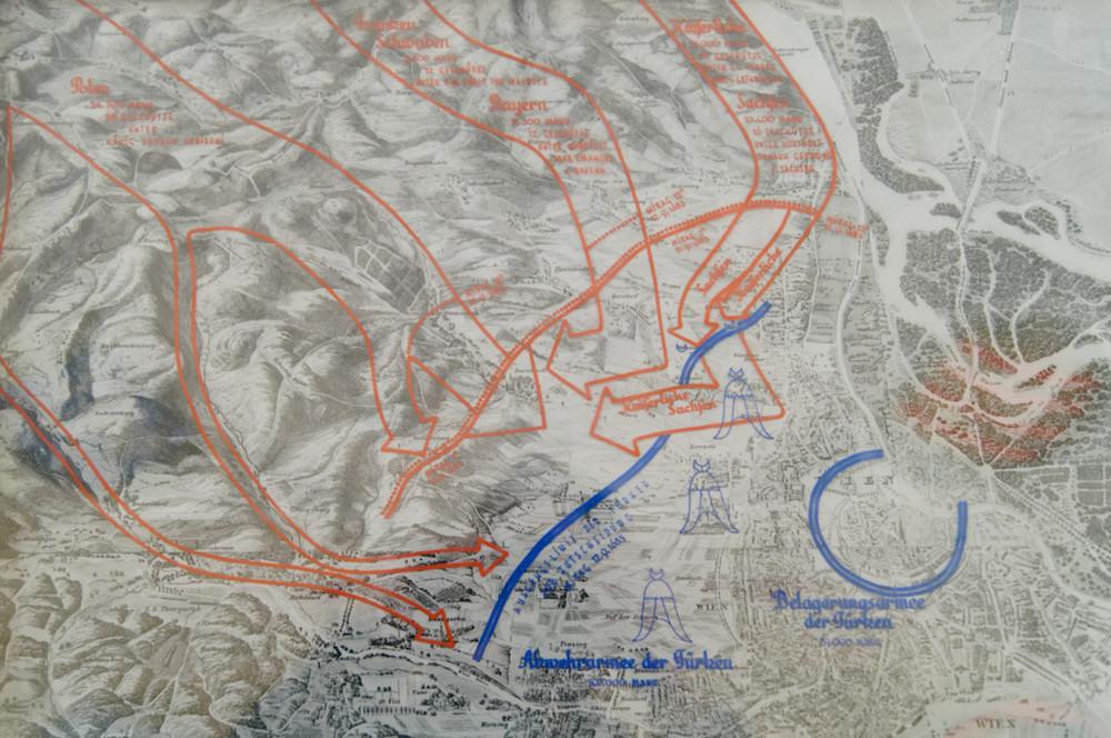 Mapa Bitwy pod Wiedniem - Źródło: Heeresgeschichtliches Museum Wien