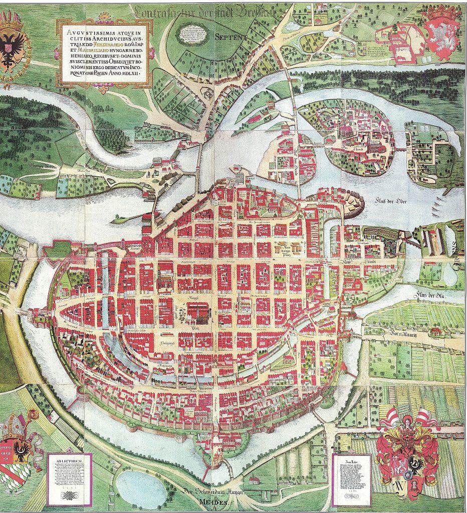 Plan Wrocławia z 1562 roku autorstwa Weinerów