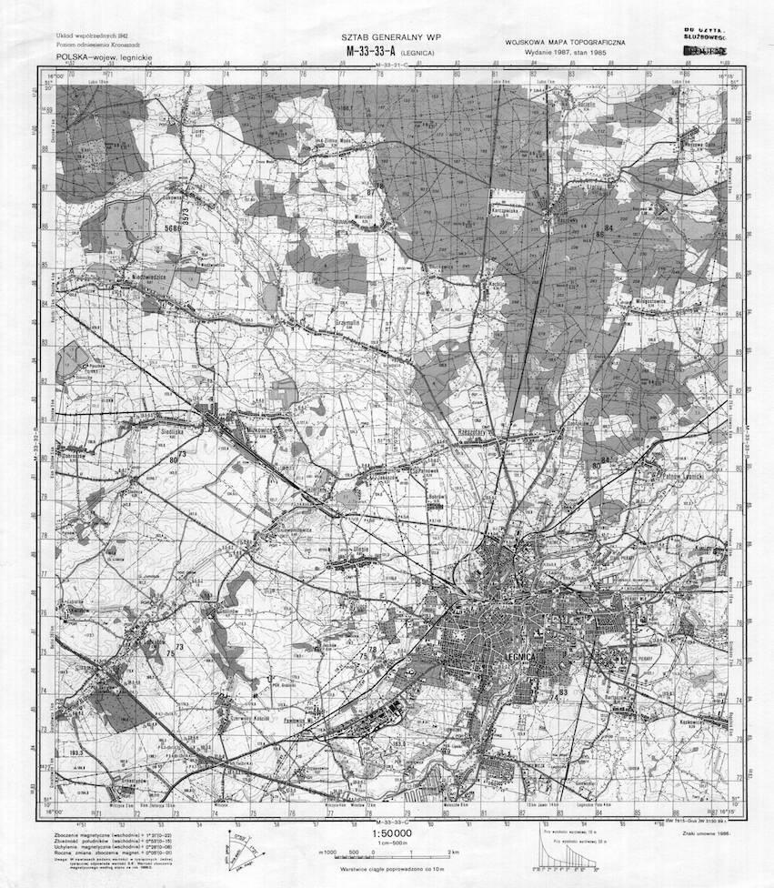 Przykładowa wojskowa mapa topograficzna Legnicy - Mapy Sztabowe Wojska Polskiego