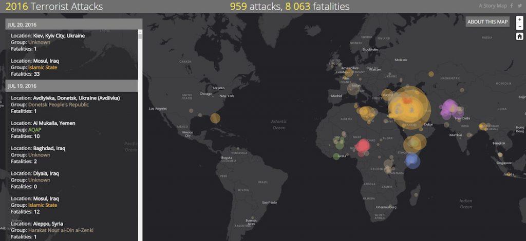 Mapa ataków terrorystycznych w 2016 roku - Źródło: storymaps.esri.com