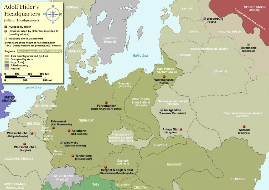 Mapa Kwater Głównych Adolfa Hitlera - Führerhauptquartier - Źródło: commons.wikimedia.org Autor: I, Dennis Nilsson