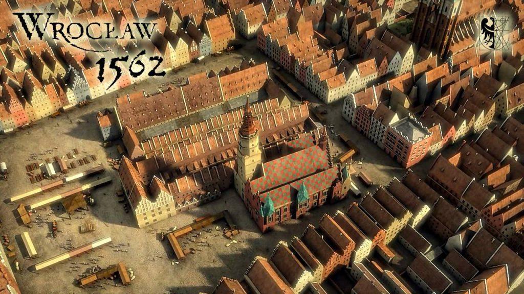 Zbliżenie na wrocławski Rynek wraz ze środkową zabudową i Starym Ratuszem