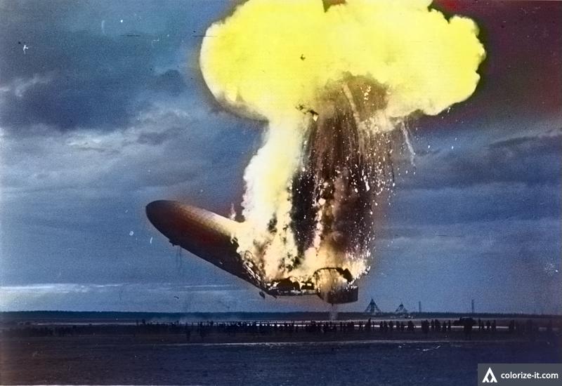 Katastrofa sterowca Hindenburg - po koloryzacji