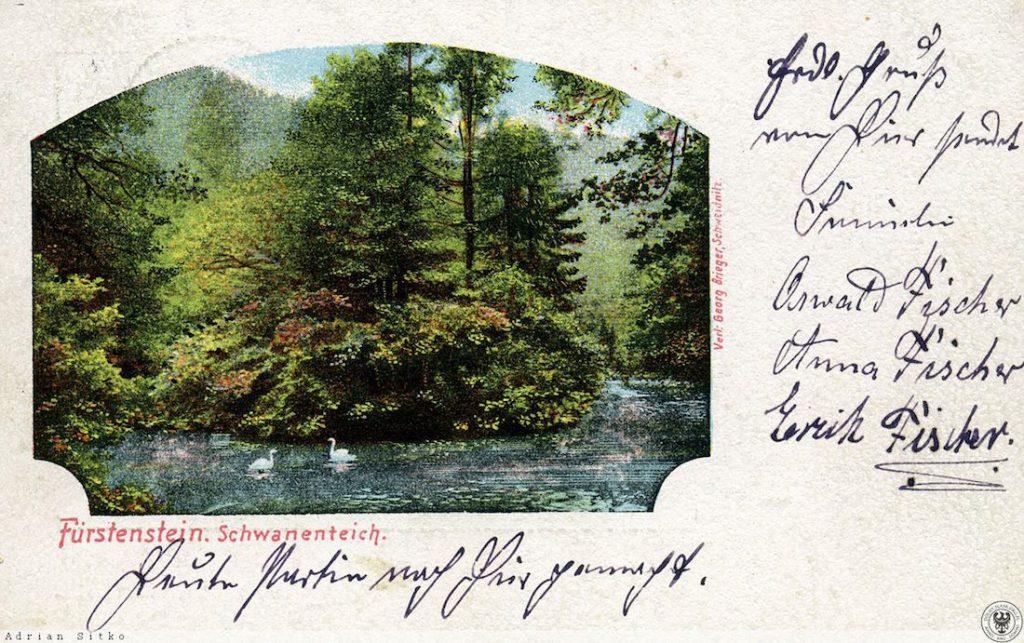 Stara niemiecka pocztówka z Łabędzim Stawem w wąwozie Zamku Książ - Źródło: dolny-slask.org.pl