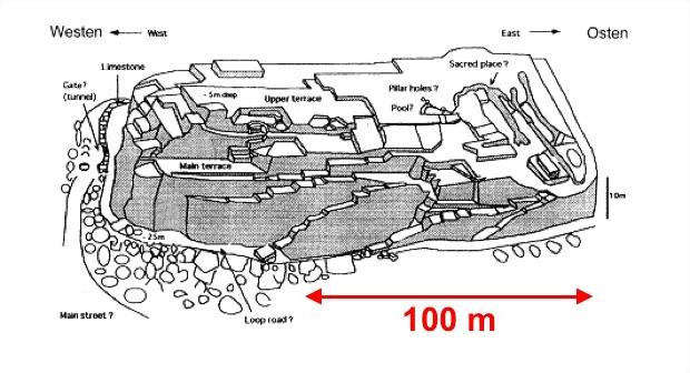 Szkic Monumentu Yonaguni - Całość ma ponad 150 m długości