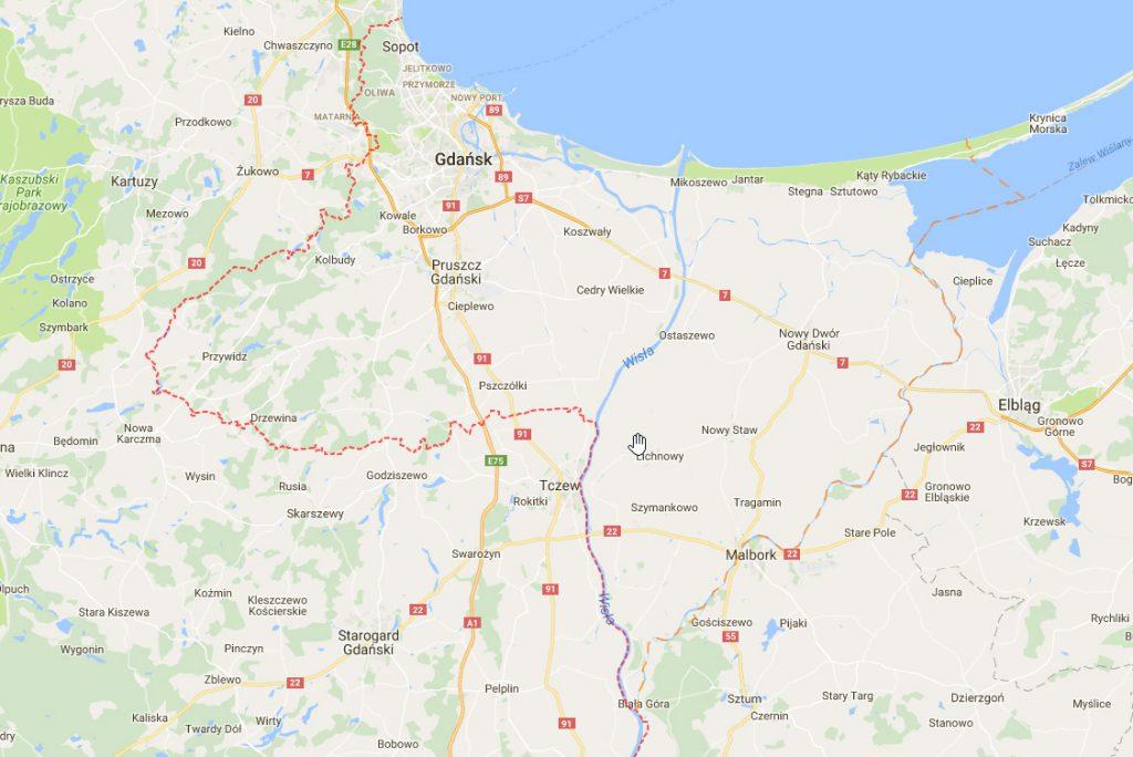 Przebieg granicy Wolnego Miasta Gdańska
