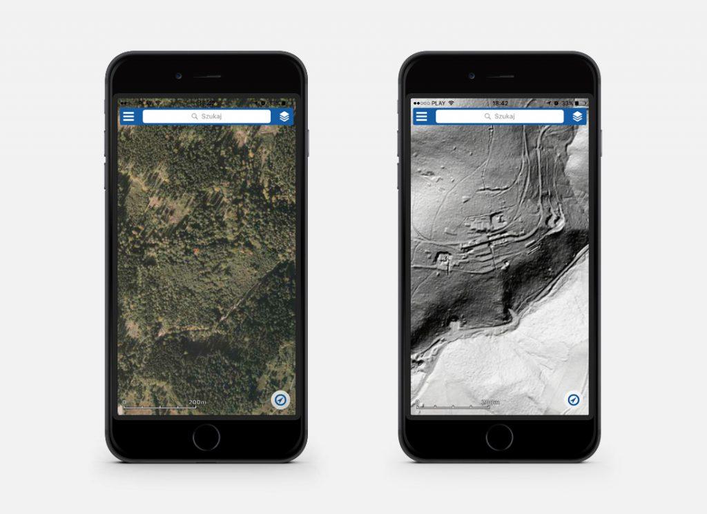 Po lewej na obrazie satelitarnym nic nie widać, po prawej na obrazie LIDAR widać dokładny kształt terenu - Teren kompleksu Riese Osówka