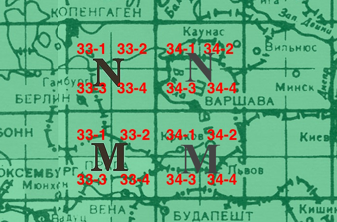 Rozpiska arkuszy radzieckich map z zaznaczonymi kwadratami obejmującymi terytorium Polski - Radzieckie wojskowe mapy Polski