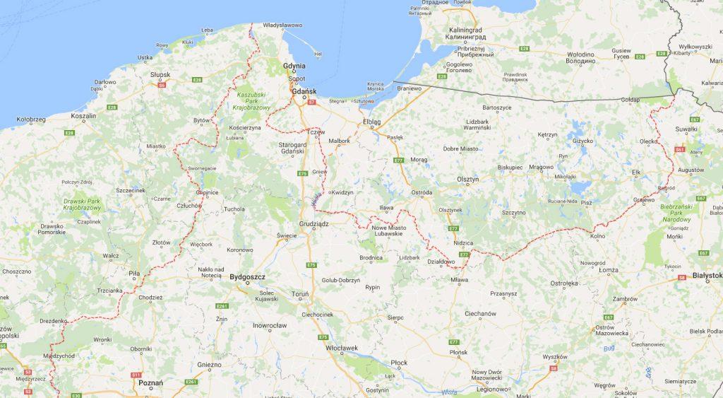 Granica Północna - Mapa przedwojennych granic II Rzeczypospolitej