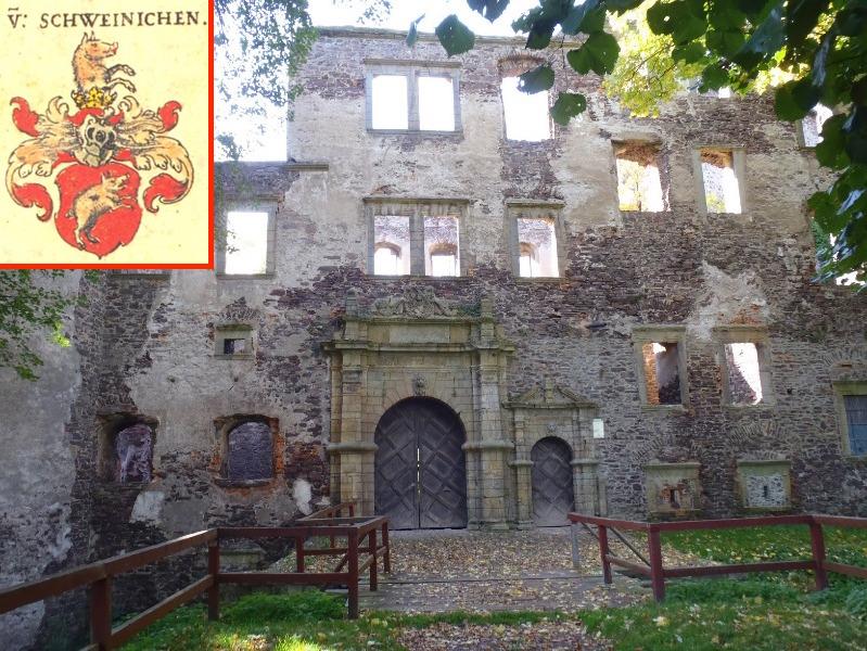 Zamek w Świnach, w rogu herb rodu szlacheckiego Świnków ze świnią na tarczy - 10 słów i powiedzeń, o których pochodzeniu nie mieliście pojęcia