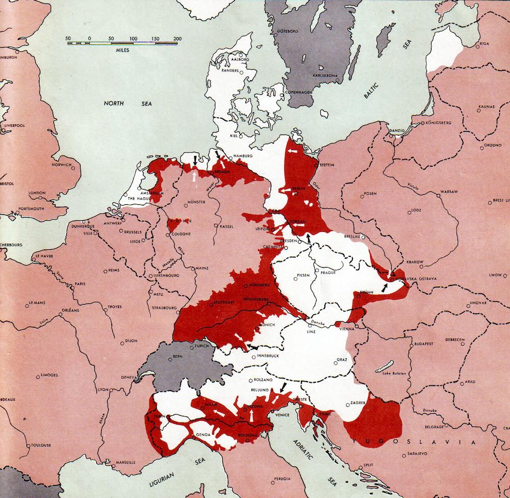 Upadek III Rzeszy - Mapa ostatnich dni nazistowskich Niemiec - Źródło: commons.wikimedia.org Autor: US Army