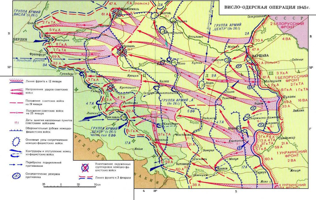 Przykładowa mapa przedstawiająca działania na terenie Dolnego Śląska w 1945 roku - Sowieckie mapy frontów II wojny światowej