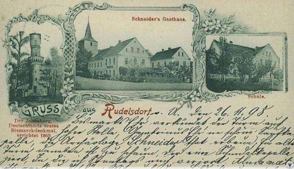 Stara niemiecka pocztówka, najstarsza Wieża Bismarcka jest po lewej stronie - Źródło: dolny-slask.org.pl