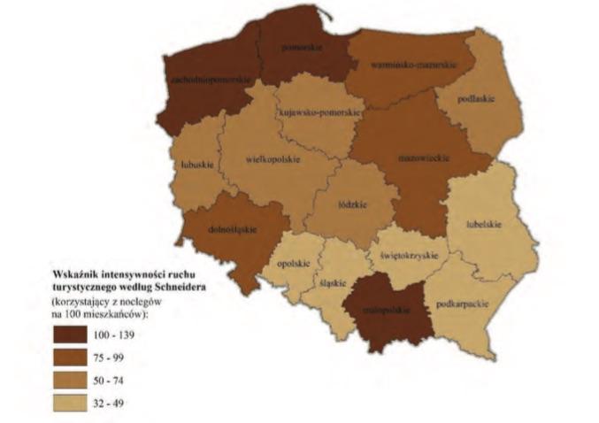 Wskaźnik intensywności ruchu turystycznego według Schneidera według województw w 2015 r. - Źródło: GUS