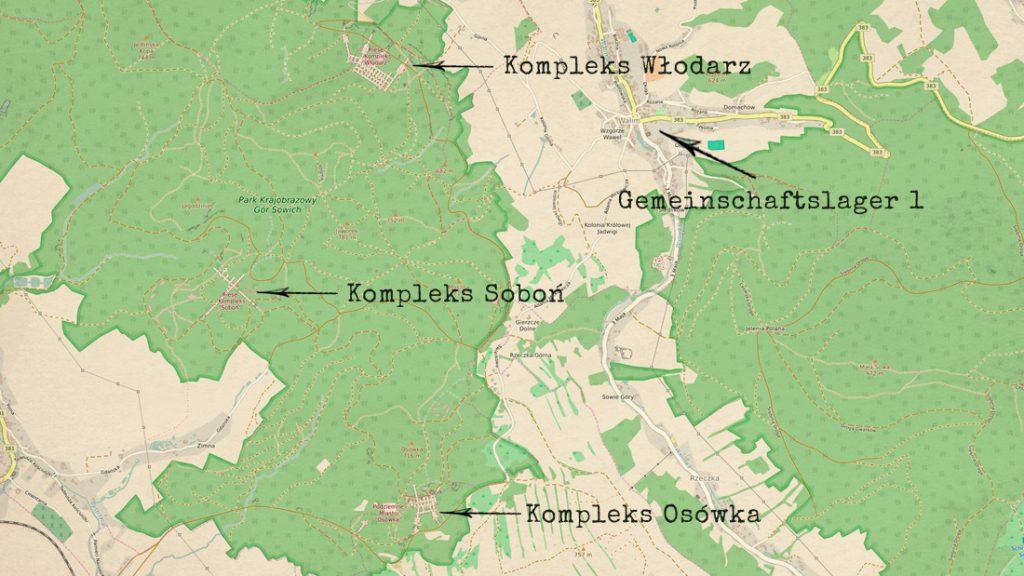 Lokalizacja obozu w Walimiu i trzy kompleksy, przy których mógł pracować H. Grębowicz - Mapa: www.openstreetmap.org
