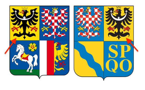 Po lewej stronie herb kraju morawsko-śląskiego, a po prawej kraju ołomunieckiego