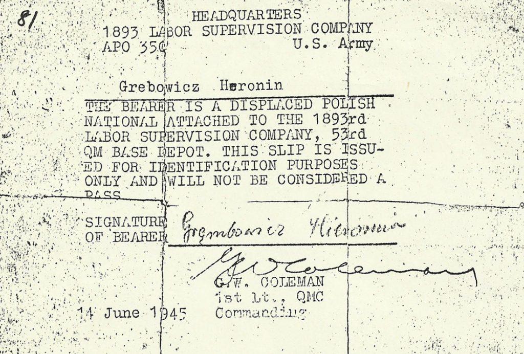 Dokument H. Grębowicza po wyzwoleniu w Bawarii