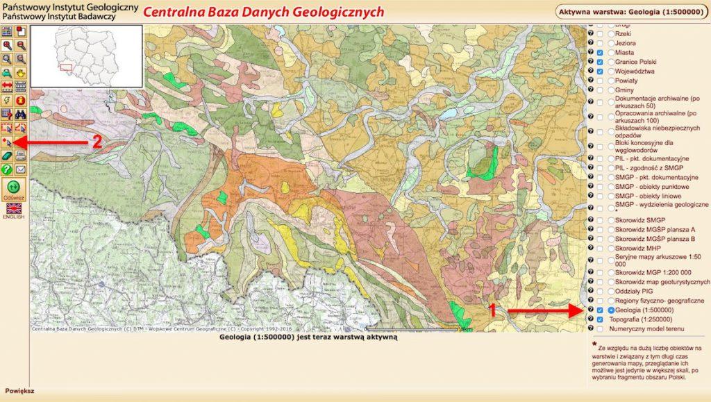 Zdigitalizowane mapy geologiczne Polski - Centralna Baza Danych Geologicznych