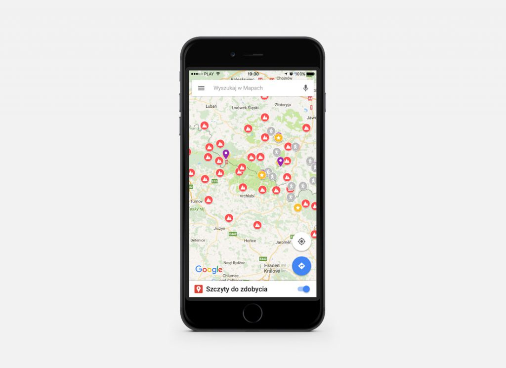 Mapa szczytów załadowana na smartfonie za pomocą aplikacji mobilnej Google Maps