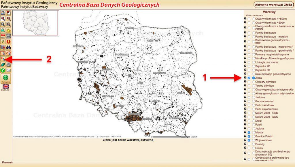 Mapa złóż Polski - Centralna Baza Danych Geologicznych