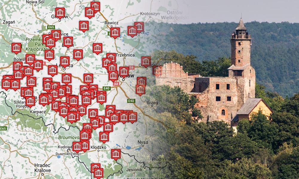 mapa zamków dolnośląskich