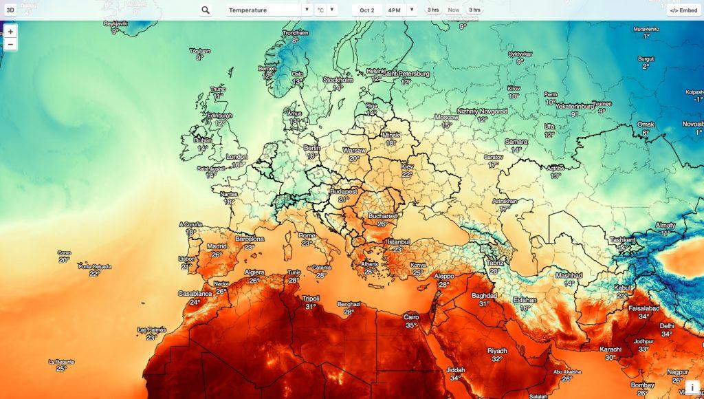 Globalna mapa temperatury i innych zjawisk pogodowych - Źródło: maps.darksky.net