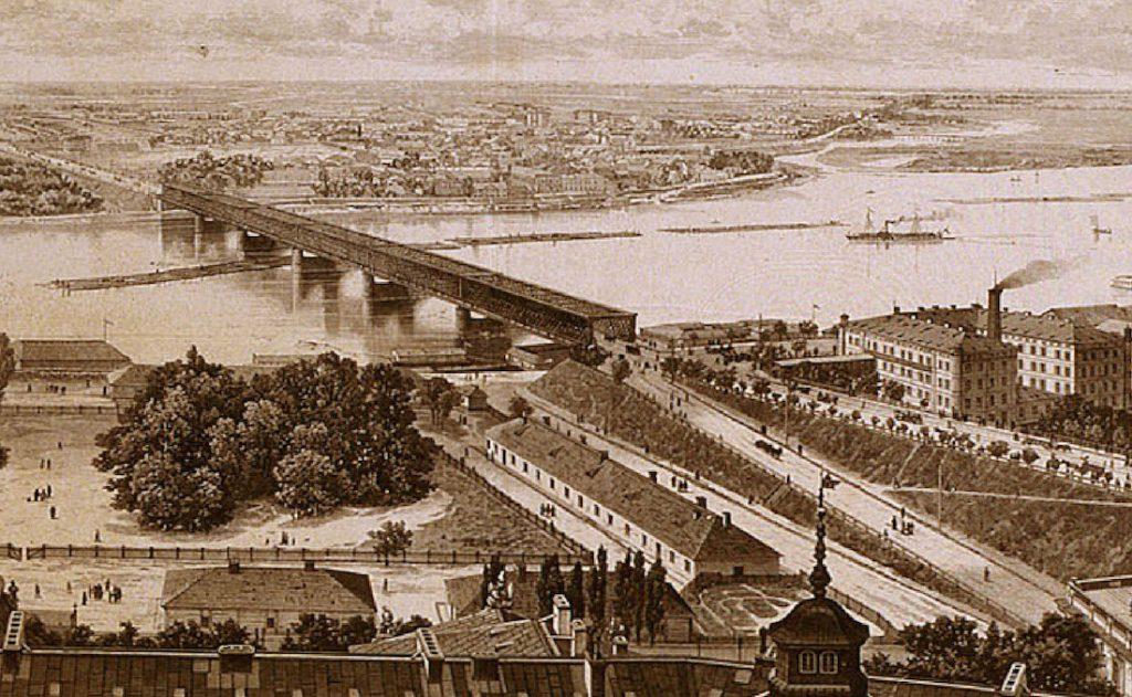 Wisła i już nie istniejący Most Kierbedzia
