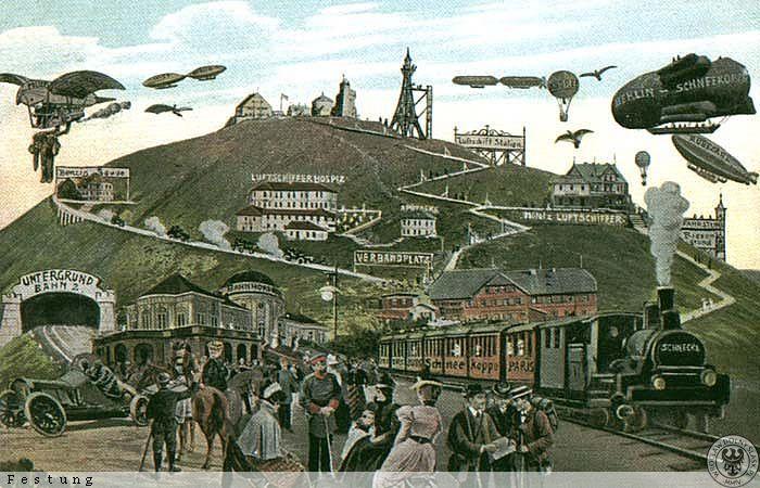 Wizja przyszłość z 1900 roku, stacja kolejowa i tunel pod Śnieżką - Źródło: dolny-slask.org.pl