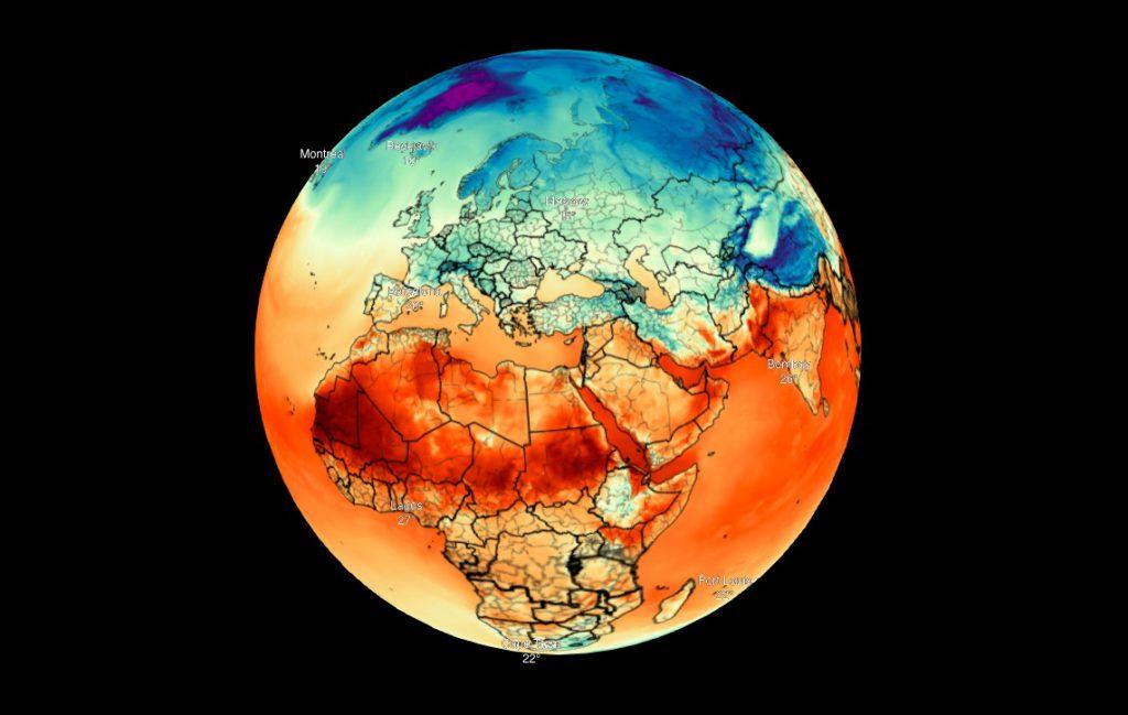 Wizualizacja 3D temperatury na Ziemi - Źródło: maps.darksky.net