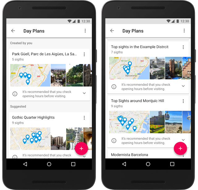 Aplikacja mobilna Google Trips - Źródło: blog.google