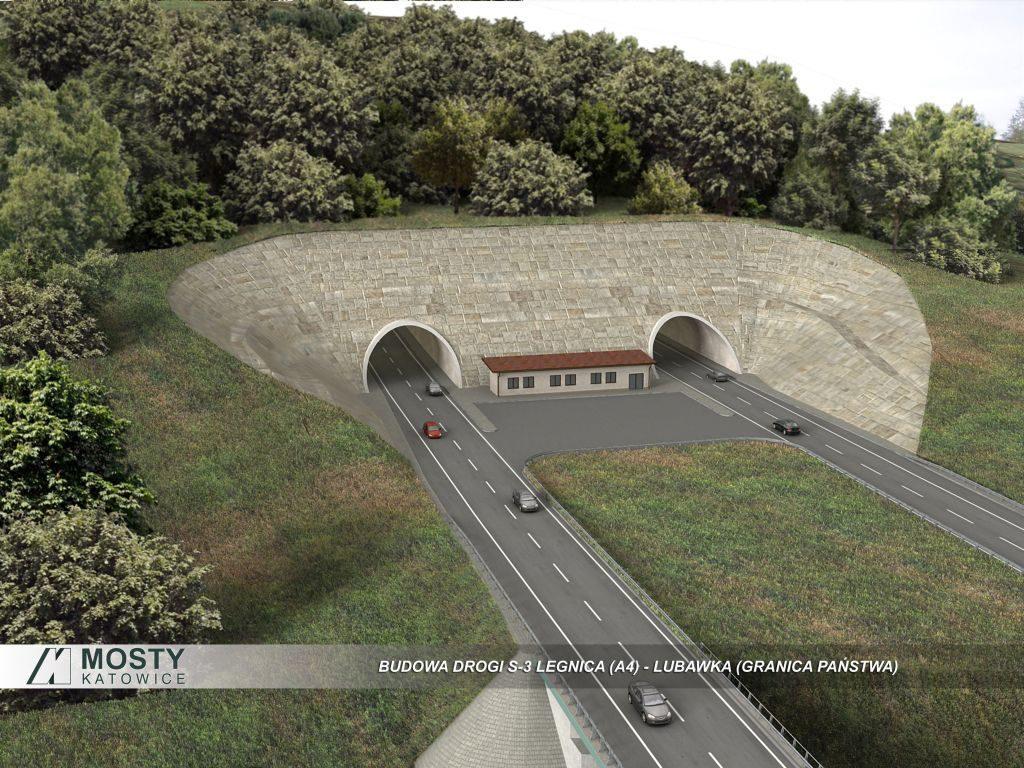 Wizja nowego (rekordowego) tunelu drogowego w Górach Wałbrzyskich - Źródło: Mosty Katowice
