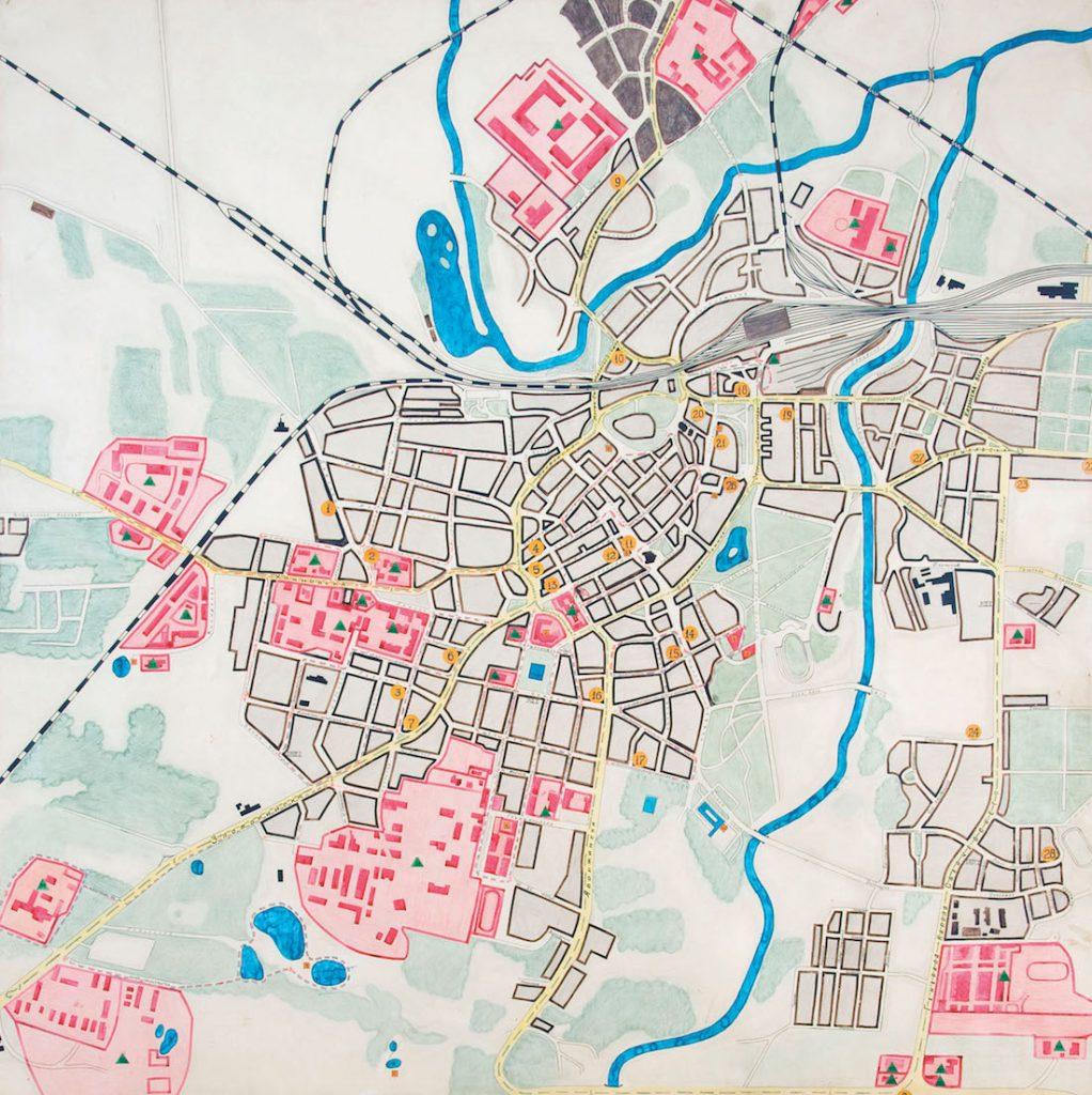 """Mapa Legnica """"Mała Moskwa"""" - Obszary zajęte przez PGWAR - Źródło: Przewodnik """"Śladami Małej Moskwy"""" Wydawnictwo Edytor"""