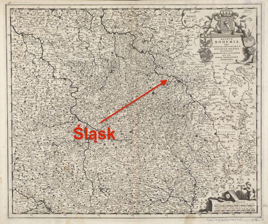 Stara mapa Śląska, Czech i Moraw z 1680 roku - Autor: Frederik de Wit