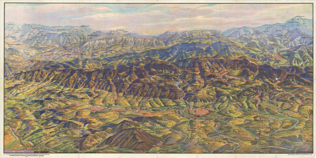Panorama Gór Sowich i Wałbrzyskich z 1937 roku