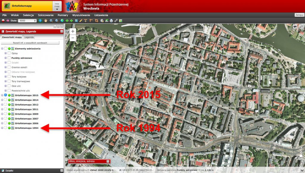 System Informacji Przestrzennej Wrocław - Porównanie zdjęć 1994 i 2015