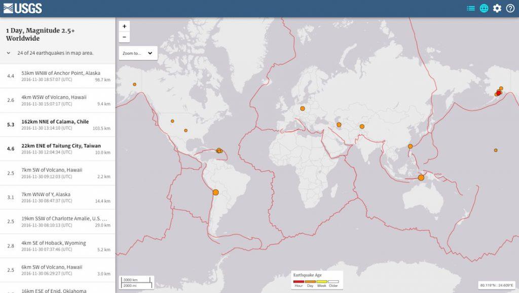 Interaktywna mapa trzęsień ziemi - Źródło: USGS