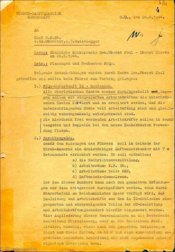 Notatka służbowa Komendanta FHQ str. 1 - Źródło: Bundesarchiv