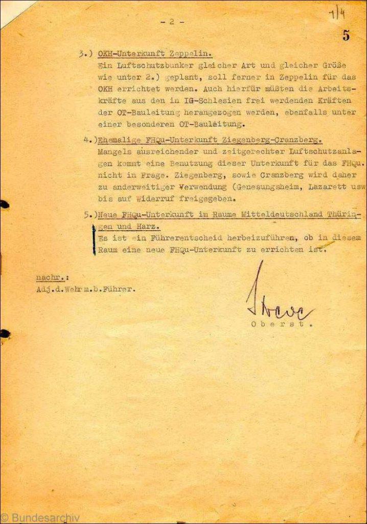 Notatka służbowa Komendanta FHQ str. 2 - Źródło: Bundesarchiv