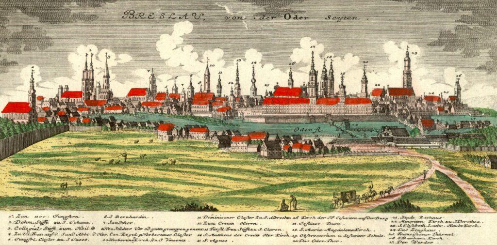 Wrocław od strony Odry - Rok 1773