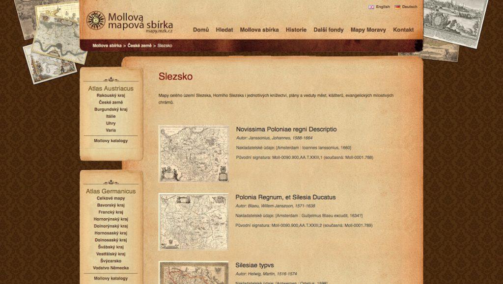 Morawskiej Bibliotek w Brnie - Zbiory starych map i archiwalnych rycin Śląska